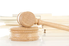 Gavel with law books Stock Photos