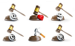 Gavel law set on a white background Royalty Free Stock Image