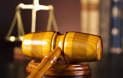 Gavel,Law theme, mallet of judge. Law, legal code and scales of justice Royalty Free Stock Image