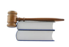Gavel and legal books isolated Stock Image