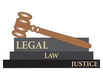 Gavel with legal depiction Royalty Free Stock Photos