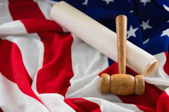 Gavel and legal documents arranged on American flag Stock Photo
