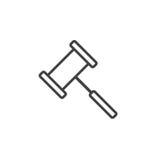 Gavel line icon, Judge Hammer outline  logo illustration, Royalty Free Stock Photo