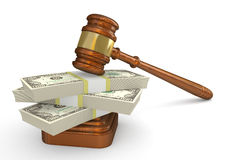 Gavel and money. Gavel and cash in a portrayal of a judgment and financial settlement in a lawsuit. 3d high-detailed illustration Stock Image