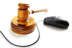 Gavel and mouse Stock Photo