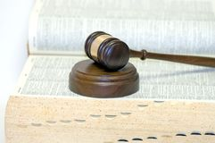 Gavel on open law book Royalty Free Stock Images