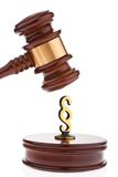 Gavel paragraphs and characters. Royalty Free Stock Image