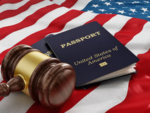 Gavel and passport on American flag Royalty Free Stock Images