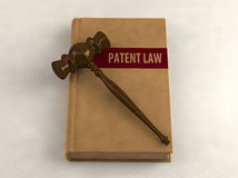Gavel on a patent law book. Conceptual illustration Stock Images