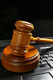 Gavel on pc Stock Images