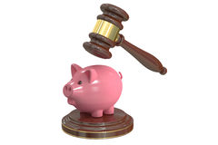 Gavel and Piggy Bank, 3D rendering Royalty Free Stock Photo