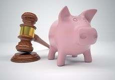 Gavel and piggy bank Stock Image