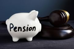 Gavel and piggy bank with sign pension. Legal and law. Gavel and piggy bank with sign pension. Legal and law concept royalty free stock images