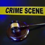 Gavel, police lights crime scene Stock Image