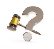 Gavel question mark. On a white background Stock Photography