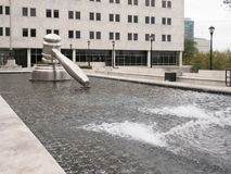 The Gavel. Rear Side View of the Gavel Statue in Water at the Ohio Supreme Court in Downtown Columbus, Ohio Stock Photo