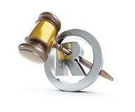 Gavel registered trademark sign 3d Illustrations. On a white background Royalty Free Stock Photography