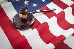 Gavel Resting on American Flag Stock Photo
