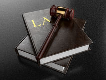 Gavel Resting on Law Books - 3D Illustration Stock Image