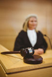 Gavel resting on sounding block Stock Photo