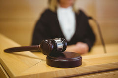 Gavel resting on sounding block Stock Image