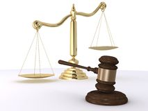 Gavel and scale Stock Photos