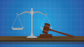 Gavel with scale judge object isolated blue background Royalty Free Stock Photo