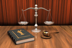 Gavel, scale and law book on the table. High resolution illustration of attributes of justice: gavel, scale and law book on the table Royalty Free Stock Images