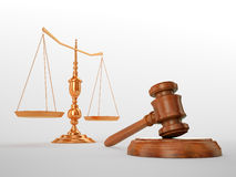 Gavel and scales Royalty Free Stock Photos