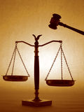 Gavel & Scales. (Brown royalty free stock photography