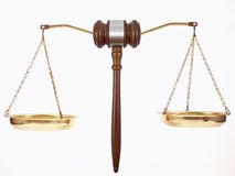 Gavel Scales. Gavel superimposed on scales stock image