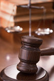 Gavel with scales and books Royalty Free Stock Photos