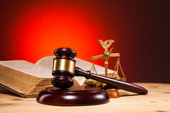 Gavel, scales of justice and old book Royalty Free Stock Photography