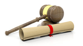 Gavel with scroll Royalty Free Stock Photography