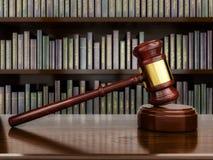Gavel se reposant devant des livres de loi - illustration 3D Photographie stock libre de droits