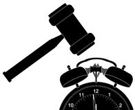 Gavel smashing alarm clock Royalty Free Stock Images