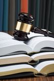 Gavel with stack of books Royalty Free Stock Photos