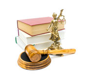 Gavel, the statue of justice and books on white background royalty free stock photos