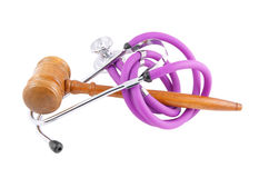 Gavel and stethoscope Stock Photos