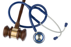 Gavel and stethoscope. Symbol photo for bungling and medical error Royalty Free Stock Photo