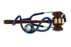 Gavel and stethoscope Stock Photo