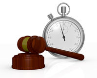 Gavel and stopwatch. One gavel, like those used on auctioning and a stopwatch, a concept of end time of an auction (3d render Stock Images