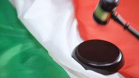 Gavel striking on sound block against italian flag, ministry justice, authority. Stock footage stock video footage