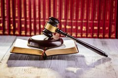 Gavel the symbol of law in court library Stock Image