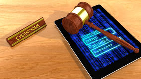 Gavel on tablet with cybercrime sign Stock Images