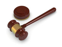Gavel. Top view of a gavel, concept of justice or auction (3d render Stock Photo