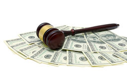 Gavel is on the U.S. dollar on a white background Stock Photo