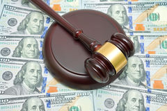 Gavel and U.S. dollars close-up. Stock Images