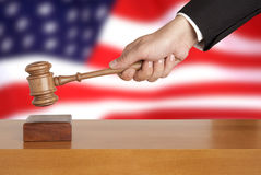 Gavel and USA flag Royalty Free Stock Images