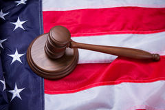 Gavel on USA flag. Stock Images
